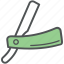barber razor, cut-throat razor, open razor, razor, straight razor icon