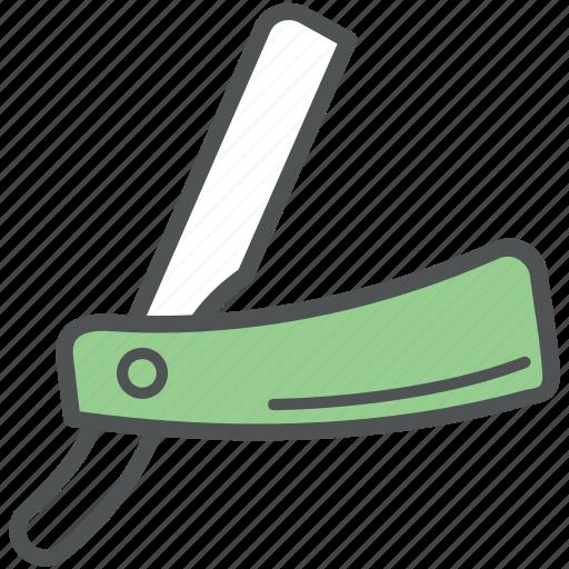 barber razor, cut-throat razor, open razor, razor, straight razor icon