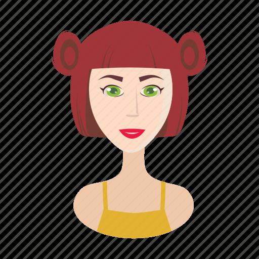 cartoon, face, fashion, female, girl, hair, ponytails icon