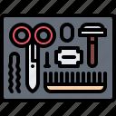 barbershop, hair, hairbrush, hairstyle, razor, scissors, tool
