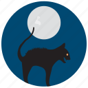 angry, cat, frightening, halloween, moon, scary icon