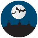 bat, grave, halloween, moon, stones icon