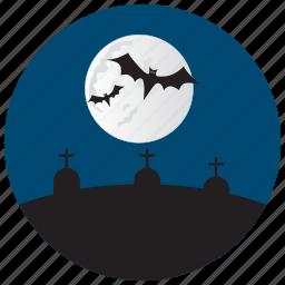 bat, grave, halloween, moon, stones icon
