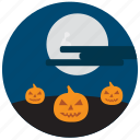 cloud, decoration, halloween, moon, pumpkin, scary icon