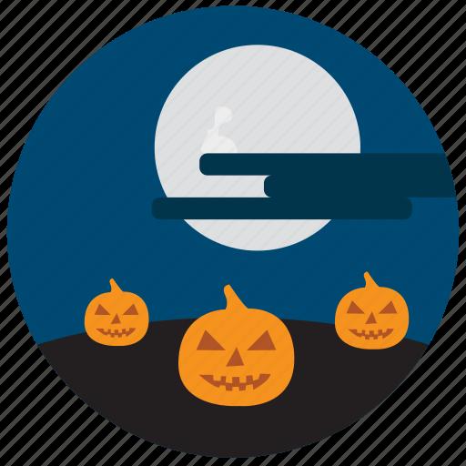 cloud, decoration, halloween, moon, pumpkin, scary icon