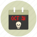 calender, date, halloween, october, sign, skull icon