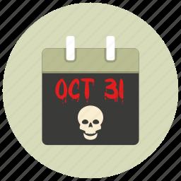 calender, date, halloween, october, sign, skull icon