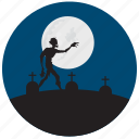 grave, halloween, moon, stones, zombie icon