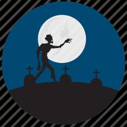 grave, halloween, moon, stones, zombie icon