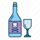 alcohol, bottle, drink, glass, halloween, poison icon
