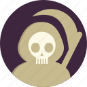 dead, death, halloween, horror, scythe, sickle, zombies icon