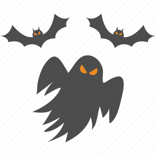 bats, ghost, halloween icon