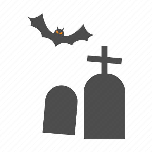 bat, halloween, tombstone icon
