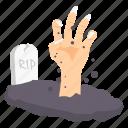 finger, grave, halloween, hand, horror, rip icon