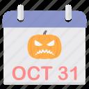 callander, date, day, halloween, pumpkin icon