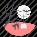 bat, cemetery, halloween, horror, scary, spooky, tree