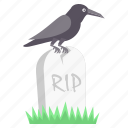 crow, death, grave, halloween, rip, scary