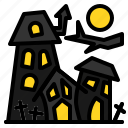 haunted, house, mystery, old, vintage icon