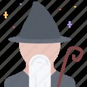 fantasy, halloween, legend, magic, staff, story, wizard icon