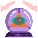 ball, crystal, fortune, halloween, hand, predict, teller icon