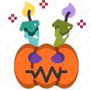 candle, decoration, face, halloween, lamp, light, pumpkin icon