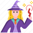 cast, halloween, magic, spell, wand, witch icon