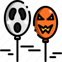 monster, emoji, creepy, face, balloon, decoration, halloween icon
