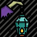 decoration, halloween, hand, lamp, light, night, witch icon