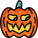 monster, pumpkin, head, creepy, face, decoration, halloween icon