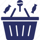 basket, candies, halloween shopping, shopping basket, sweets icon
