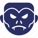dracula face, halloween, monster, undead, vampire face icon