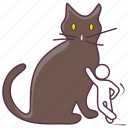 black cat, evil cat, feline, halloween animal, halloween cat, halloween pet icon