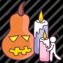 candlelight, glim, halloween candle, illumination, pumpkin light icon