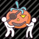 carved pumpkin, halloween pumpkin, pumpkin face, pumpkin pirate, scary pumpkin icon