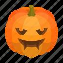 autumn, cartoon, halloween, isometric, orange, pumpkin, scary
