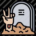 buries, cemetery, gravestone, tomb, zombie