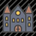 building, tower, halloween, house, castle, church