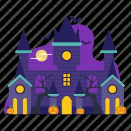 vampire, castle, bat, spooky, halloween