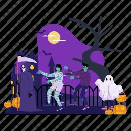 castle, costume, halloween, trick or treat, zombie