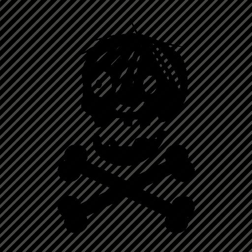 crossbones, halloween, skull, spooky icon
