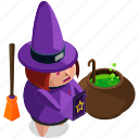 broom, cauldron, halloween, horror, scary, spooky, witch icon