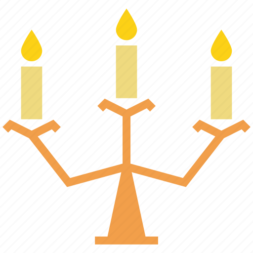 candelabra, candle, halloween, light, stand, wax icon