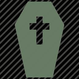 casket, coffin, cross, halloween icon