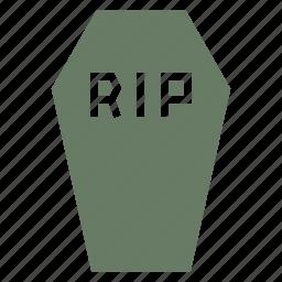 casket, coffin, death, funeral, halloween, rip icon