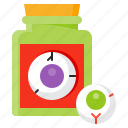 bottle, disgusting, eyeball, halloween, spooky icon
