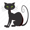 black cat, cartoon, creepy, halloween, holiday, night, october icon
