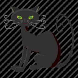 black cat, cartoon, creepy, halloween, holiday, night, october icon