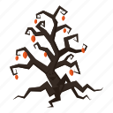 cartoon, decoration, fun, halloween, holiday, night, tree icon