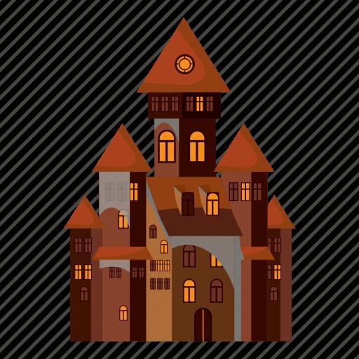 cartoon, castle, decoration, ghost, halloween, monster, spider icon