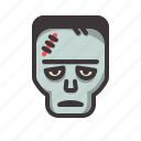frankenstein, halloween, tired icon